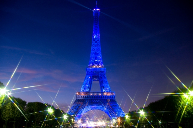 Eiffel Tower in Blue