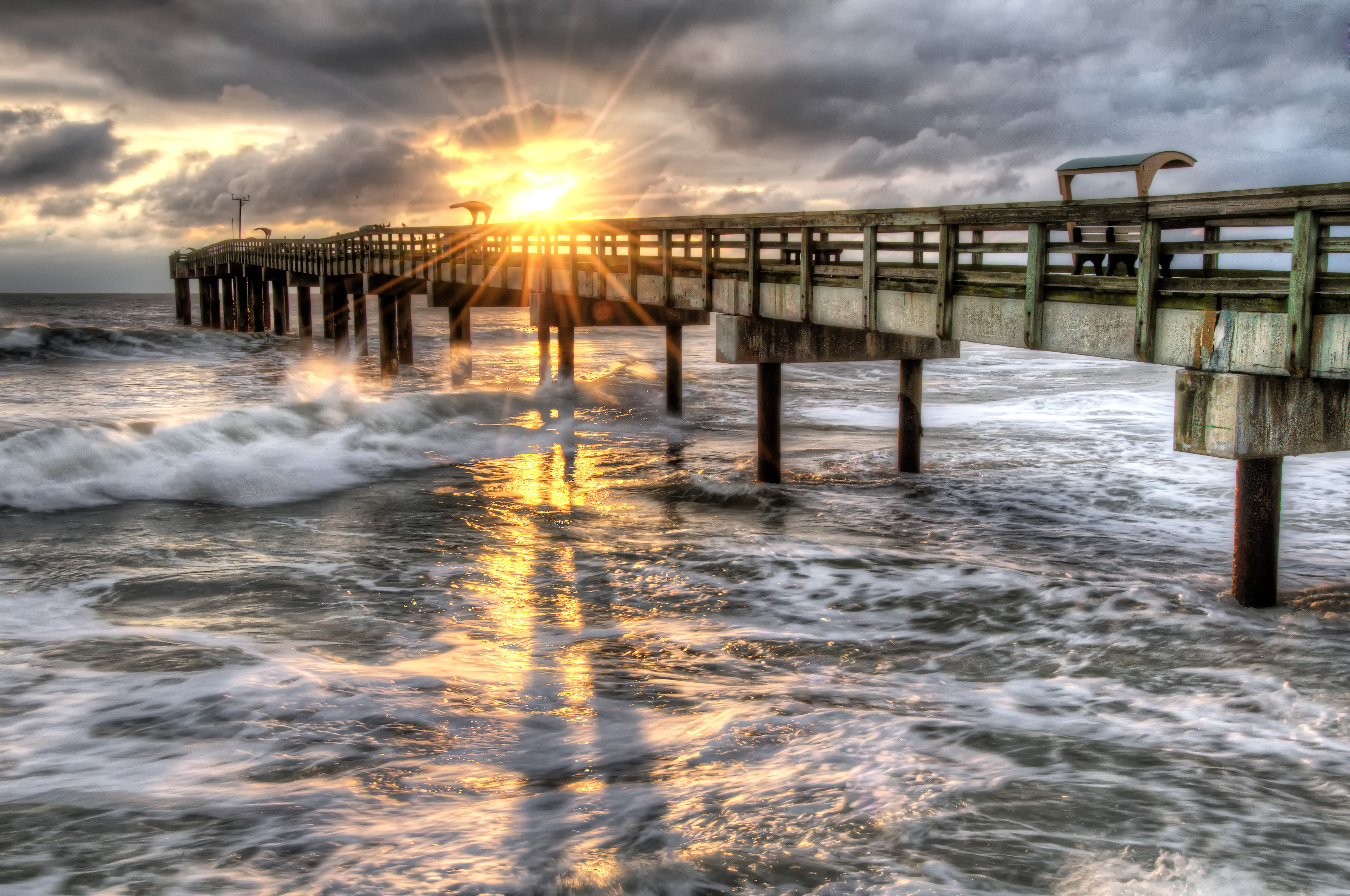 St augustine florida a break in the clouds hdr for St augustine fishing pier